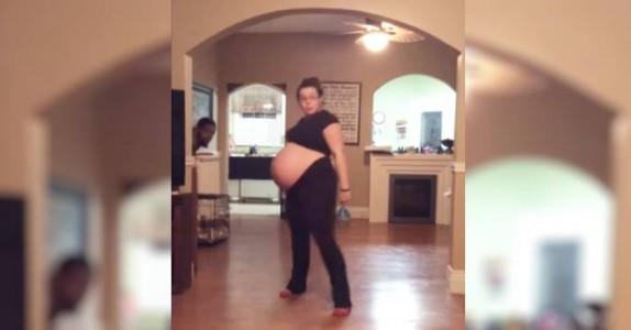 Hun er på vei til sykehuset for å føde. Men det hun gjør først? Følg med på magen hennes!