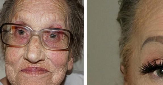 80-åringen sminkes av sitt barnebarn. Når du ser resultatet, tror du ikke dine egne øyne!