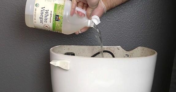 Han tømmer eddik i toalett-tanken. Men det som skjer når han spyler? Dette er jo GENIALT!