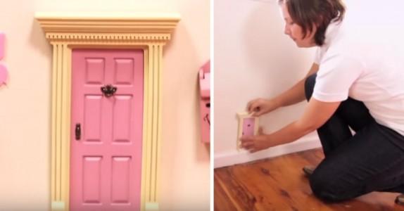Den smarte moren setter inn en liten rosa dør. Se datterens ansikt når hun ser inn i den…
