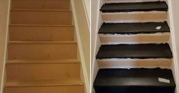 Moren var lei av sin kjedelige trapp, så hun kjøpte litt farge. Resultatet er helt magisk!