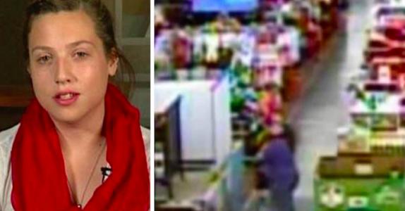 Tenåringen hører skrik inne i butikken. Så løper hun frem og tar babyen fra moren!