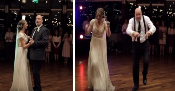 Far og datter danser helt vanlig. Det er helt til han ser inn i kameraet og overrasker ALLE!