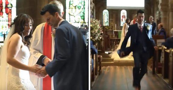 Brudeparet står foran alteret. Men plutselig løper han ut av kirken og lar ALLE bli stående igjen!