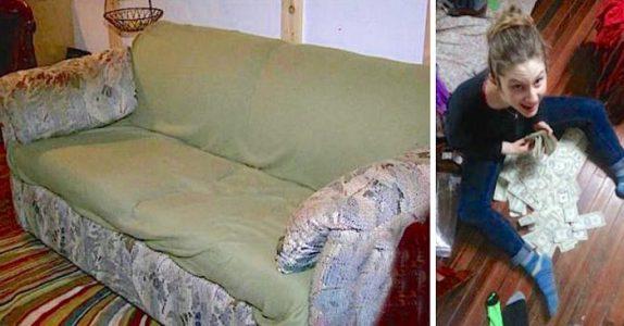 Studentene kjøpte en stygg og illeluktende sofa for 200 kroner. Men så finner de ut hva det er INNI den!