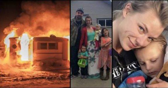 Moren bærer barna ut av det brennende huset. Så løper hun inn igjen og låser seg inn!