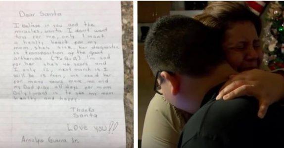 12-åring skriver brev til nissen for å ønske seg noe. Når det ringer på døren, bryter moren ut i gråt!