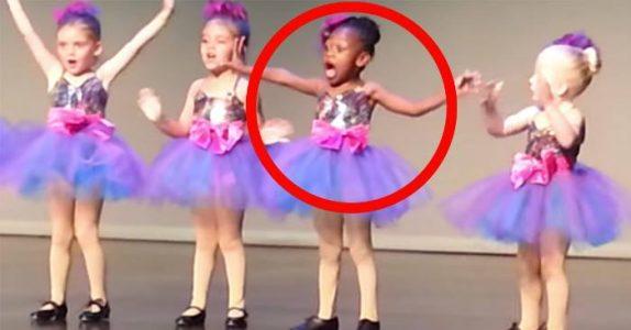 Jenta blir lei av danseforestillingen. Sekunder senere tar hun over showet!