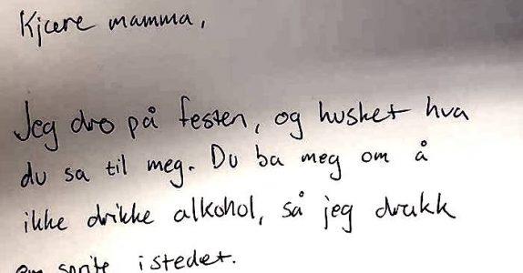 Datteren sier farvel til moren. Det rørende diktet viser hvorfor man ALDRI skal kjøre med alkohol i blodet!