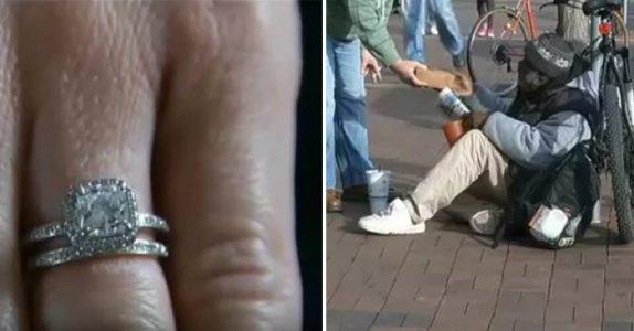 Kvinne mister forlovelsesringen sin. Men 2 dager senere blir hun SJOKKERT av denne hjemløse mannens ord!