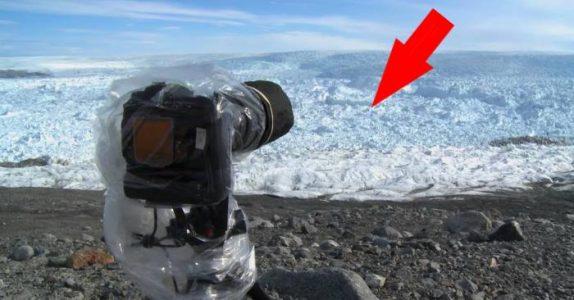 Mannen hører at isbreen sprekker. Da blir han vitne til det mest dramatiske han har sett i hele sitt liv!