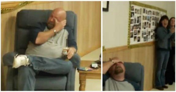 Han gråter når han får en bursdagsmelding fra sønnen i militæret. Så får han den EGENTLIGE gaven!