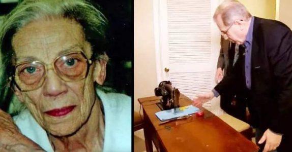 På sitt dødsleie ber tanten ham om å se under symaskinen. Da avsløres den 70 år gamle hemmeligheten!