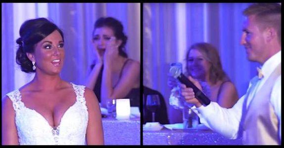 Brudgommen avslører at familien på 2 nå blir til 3. Så peker han BAK bruden!