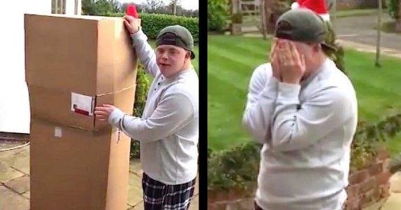 Sønnen med Down syndrom får ikke åpne pakken inne. Men han får SJOKK når han åpner den utenfor huset!