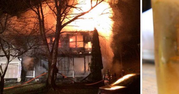 Mannen stormer inn i det brennende huset. For å redde noe av det mest DYREBARE han har!