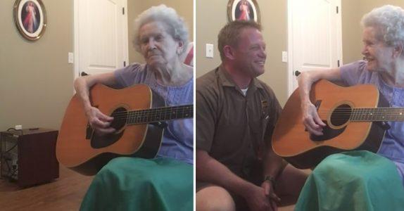 Mammaen er dement. Men når sønnen gir henne en gitar, skjer det noe som rører alle til tårer!