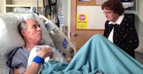 Han ber kona om å komme nærmere sykehussengen hans. Da ser han henne i øynene og gjør DETTE!