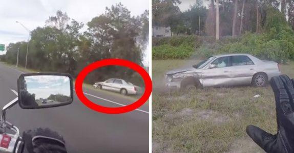 Motorsyklisten mistenker at bilisten er full. Men når han åpner døren, innser han det fryktelige sannheten!