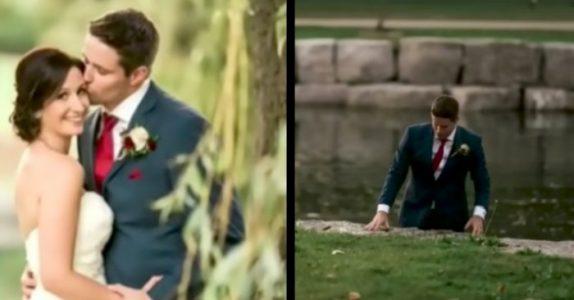 Bruden blir forvirret når brudgommen plutselig hopper i vannet. Så innser hun HVORFOR han gjorde det!