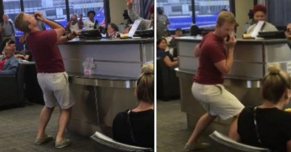 Personalet ble lei av passasjerenes dumme spørsmål. Da griper denne mannen plutselig mikrofonen!