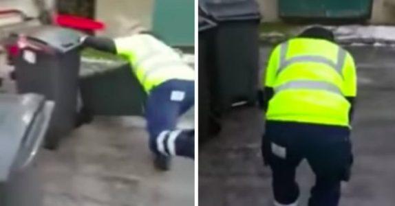 26-åringen prøver bare å gjøre jobben sin. Men se den hysteriske videoen kollegaen hans filmet!