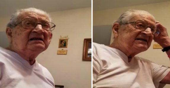 Den 98 år gamle pappaen får høre hvor gammel han faktisk er. Reaksjonen? Fantastisk!