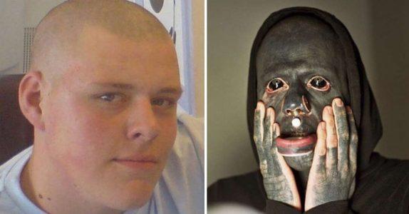 17-åringen drømte om å tatovere hele kroppen svart. Nå, 10 år senere, gråter barn når de ser han!