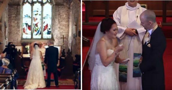 Bruden skal til å avgi bryllupsløftene. Da peker brudgommen opp på galleriet og gir ALLE et sjokk!