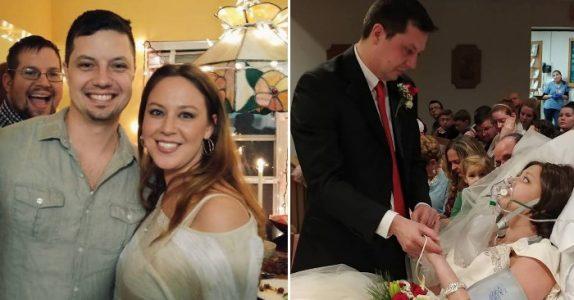 Den kreftsyke kvinnen gifter seg i sykehussengen. Neste dag tar hun farvel med mannen i sitt liv.