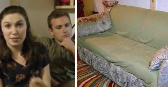 Ungdommene kjøpte en gammel sofa på loppemarked. Så finner de noe gjemt i armlenet!