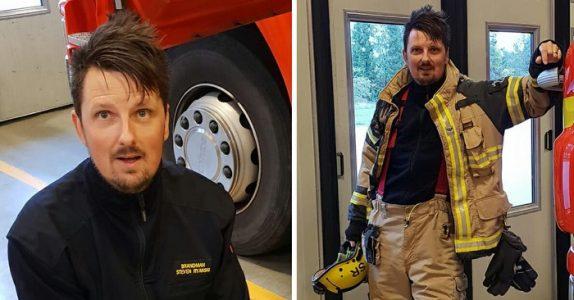 Brannmannen sto å dirigerte trafikken da han nesten ble påkjørt. Så gjør sjåføren DETTE!