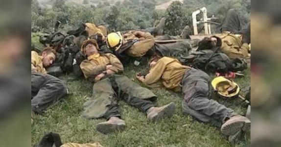 Skogbrannene fortsetter å herje i California. Mens modige brannmenn jobber seg tomme for krefter!