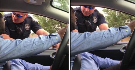 Politiet stopper mannen fordi han kjører uten barnebilstol. Når han snur seg til siden får han sjokk!