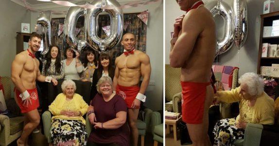 Kvinnen fyller 100 år og ønsker seg flere menn på aldershjemmet. Da gjør personalet det utrolige!