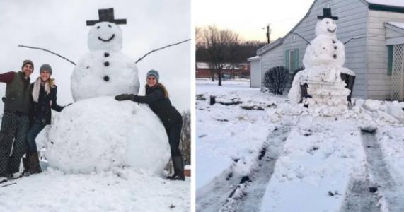 Kjeltringene prøvde å kjøre den ned med bil. Men snømannen lo sist!