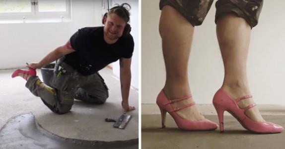 Her har håndverkeren på seg høyhælte sko på jobb. Når jeg leser hvorfor blir jeg IMPONERT!