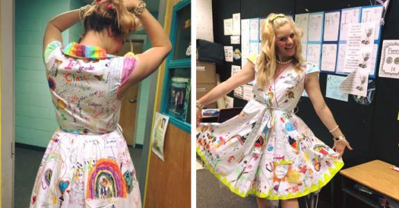 Læreren lar elevene tegne på kjolen hennes den siste skoledagen. Resultatet? Nydelig!