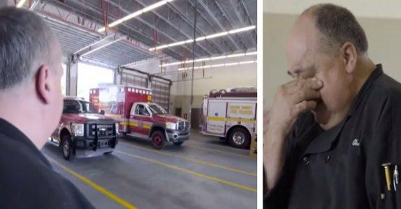 Han har laget mat til brannmennene i 15 år. Men SE hva som venter ham bak den ene brannbilen!