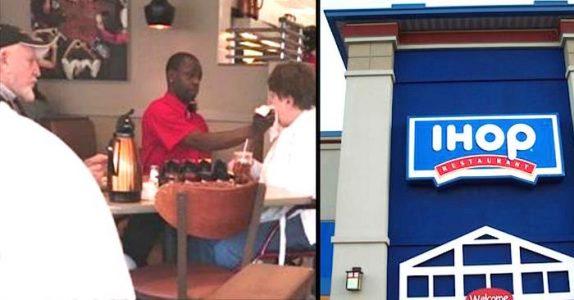 Mannen mater sin funksjonshemmede kone på kafé. Men så tar servitøren gaffelen fra ham!