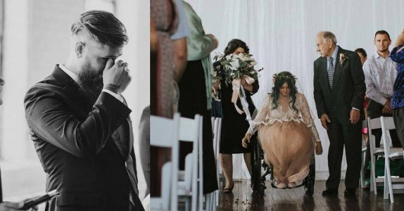 Brudgommen venter ved alteren. Plutselig innser han hva bruden gjør, og bryter ut i tårer!