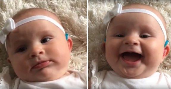 Mammaen gir babyen sin et høreapparat for første gang. Reaksjonen hennes sjarmerer nå millioner!