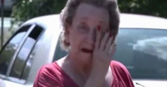 4 gutter snek seg inn i den gamle damens hage. Når hun får tak i dem, begynner tårene å trille!