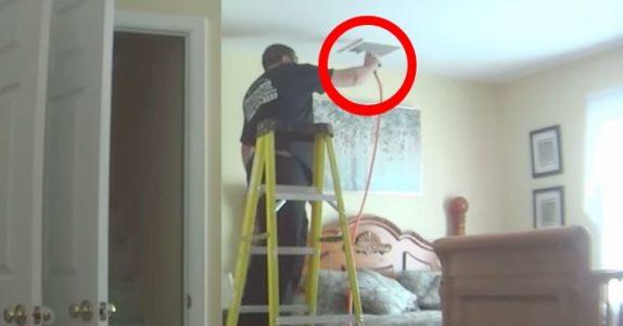 Kvinnen setter opp skjulte kameraer i huset. Men når hun ser hva håndverkeren GJØR, koker hun av sinne!