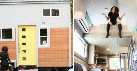 Flyvertinnen flyttet inn  i et 14 kvadratmeter stort hus i skogen. Men vent til du ser INNSIDEN!