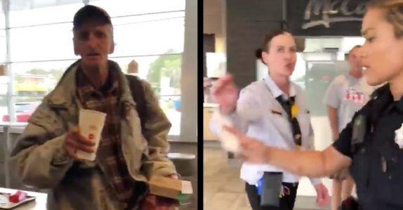 Mannen hjelper den hjemløse mannen på McDonald's. Så blir han straffet for det!