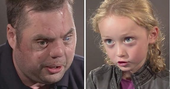 Den skumle arrete mannen sier hei til 5-åringen. Nå rører svaret hennes millioner til tårer!