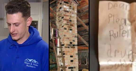 Bygningsarbeiderne river skorsteinen i et gammelt hus. Da finner de en beskjed fra 1943!