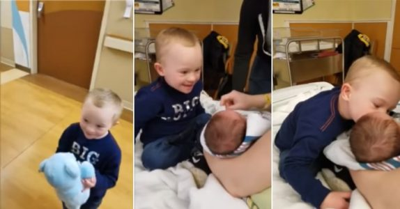 Gutt med downs syndrom ser sin nye lillebror for aller første gang. Reaksjonen er HELT fantastisk!