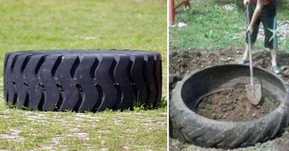 Han graver et hull i bakken og legger det gamle traktordekket nedi. Resultatet? Du vil ikke tro det!